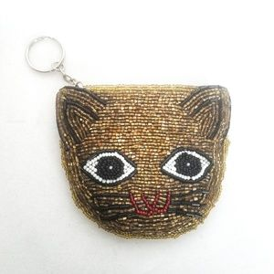 Handbags - Kitty Cat Beaded Coin Zip Purse Change Wallet